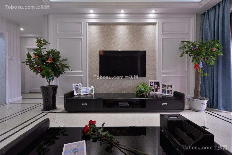 客厅白色背景墙简欧风格装潢设计图片