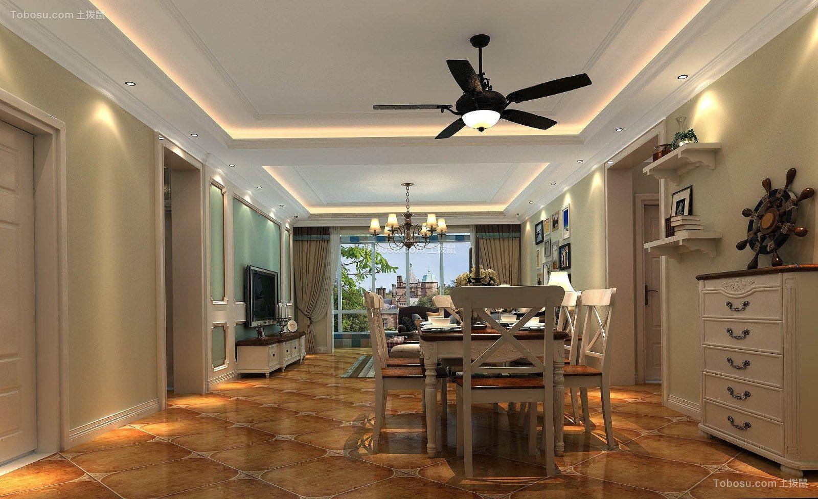 一百二十平方美式田园三居室装修效果图