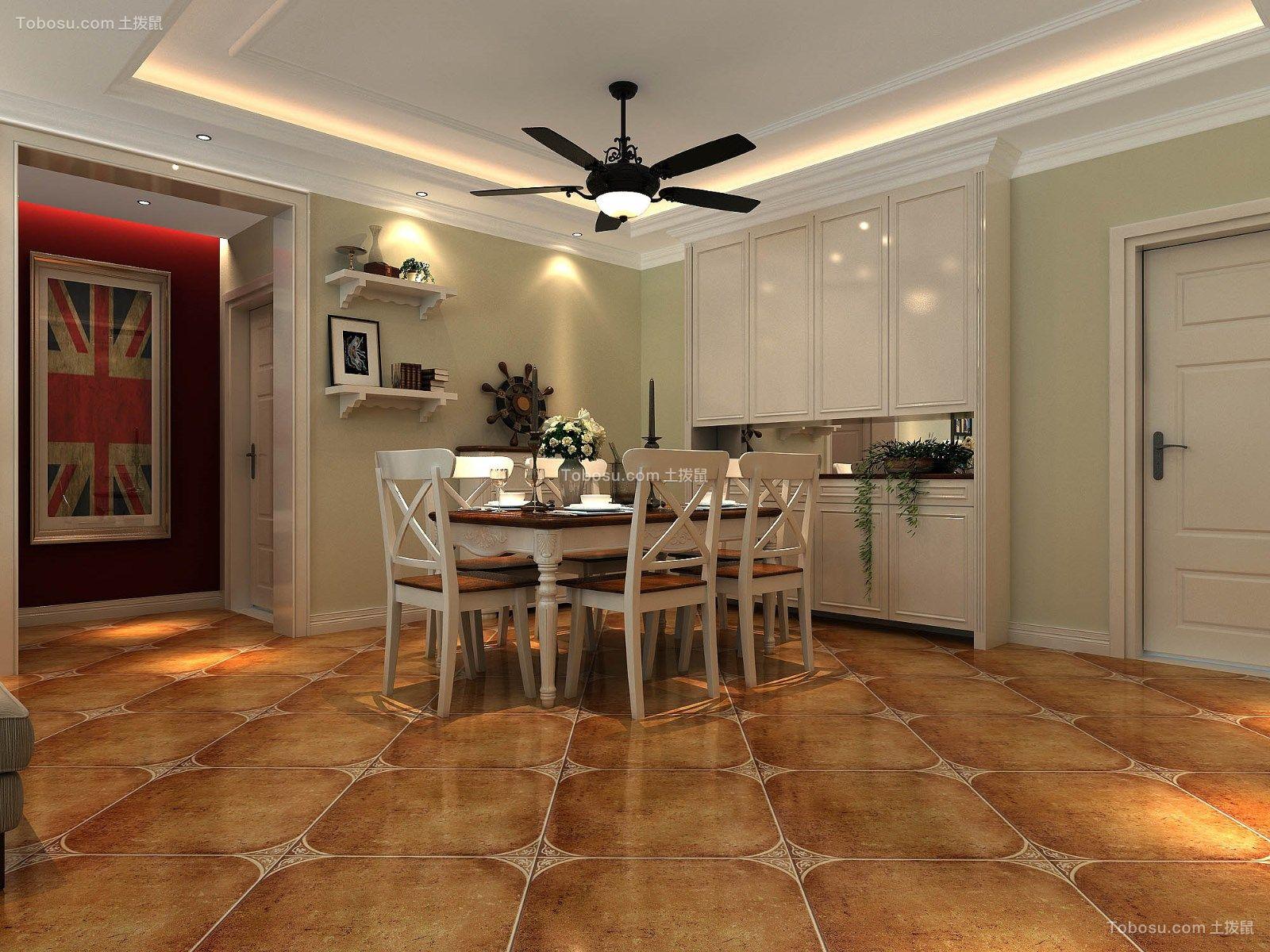 餐厅彩色地板砖田园风格装潢效果图