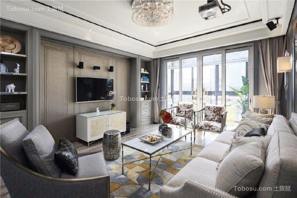 客厅米色电视柜美式风格装潢设计图片