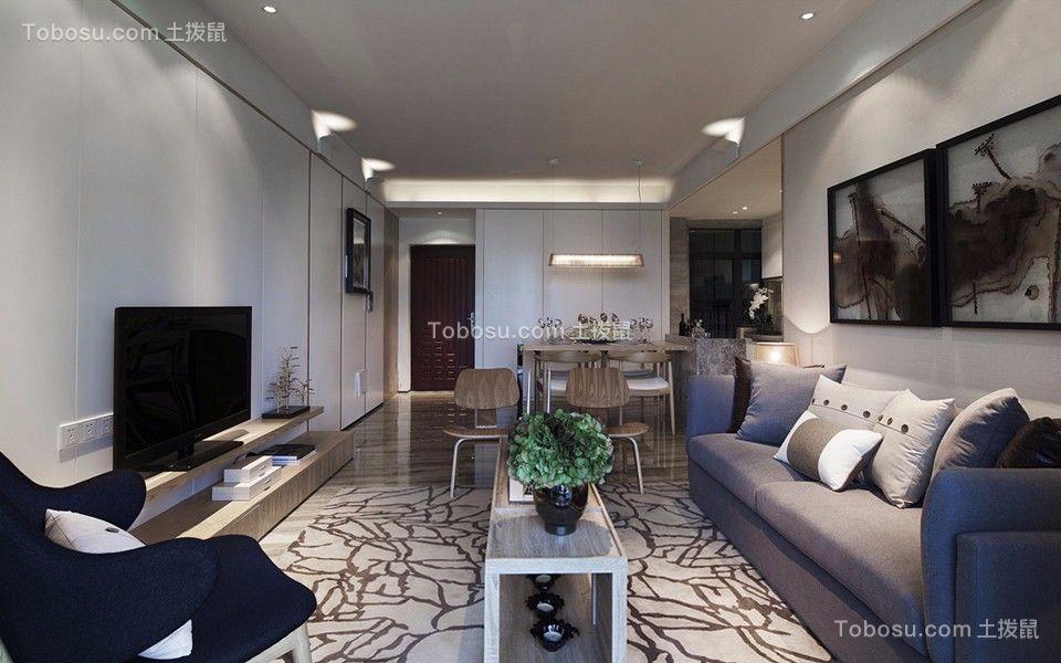 客厅米色电视柜现代风格装潢图片