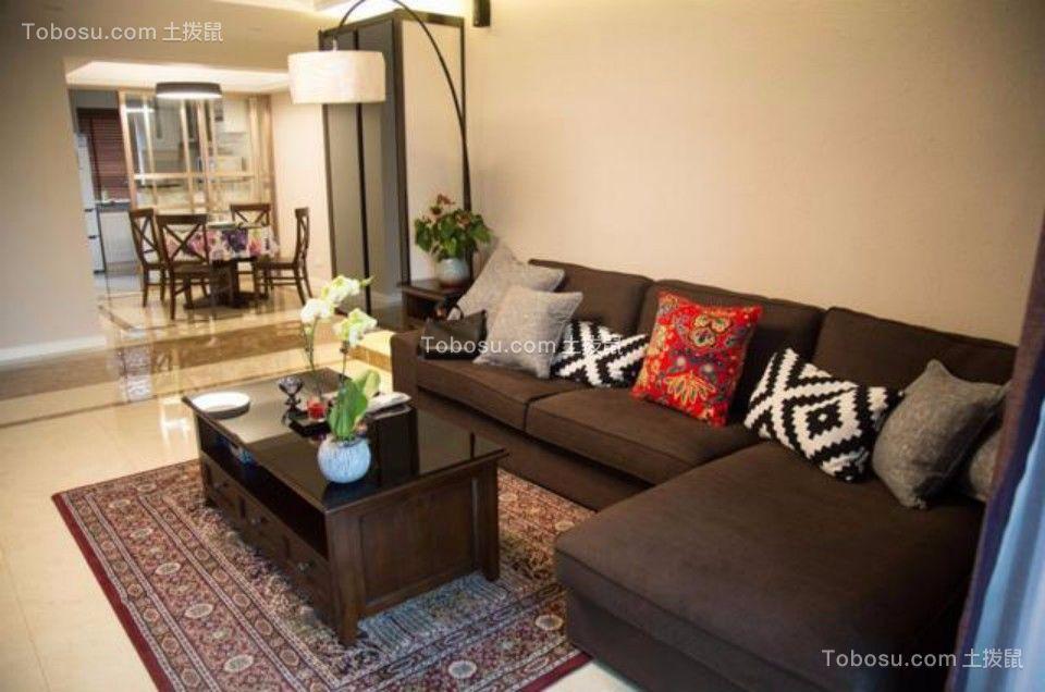 客厅黑色沙发混搭风格装潢效果图