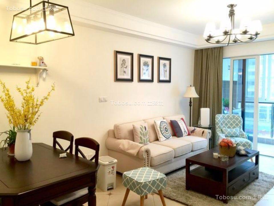 永嘉新天地两室两厅96平美式二居室装修效果图