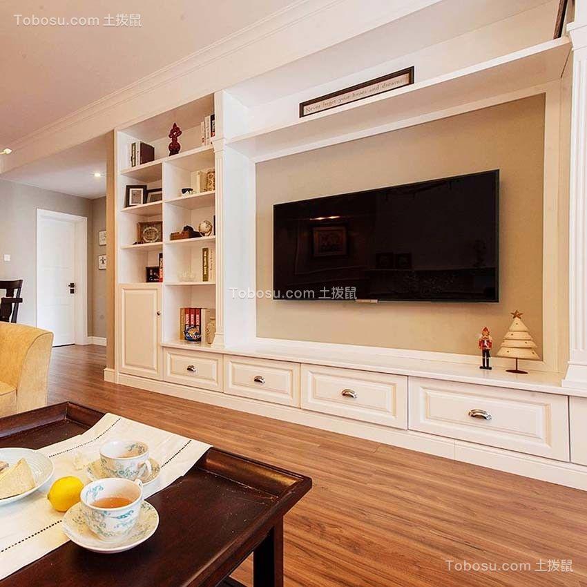 客厅 背景墙_启迪方洲79平小户型美式装修效果图