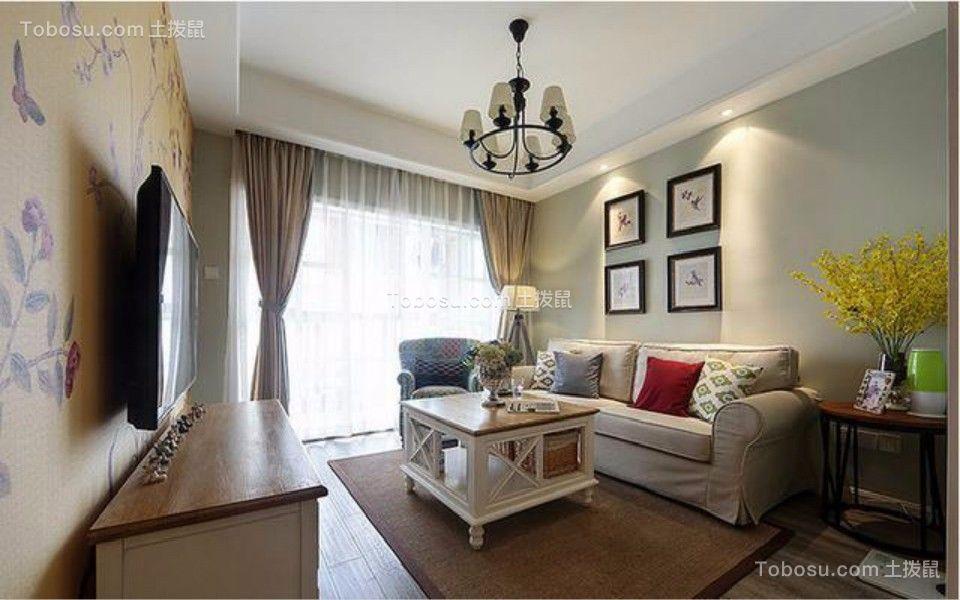 中佳蓝湾两室两厅97平美式装修效果图