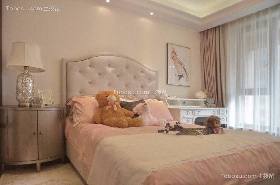卧室粉色窗帘欧式风格装修效果图