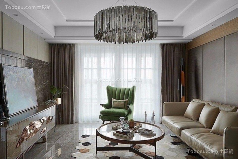 客厅米色电视柜后现代风格装潢图片