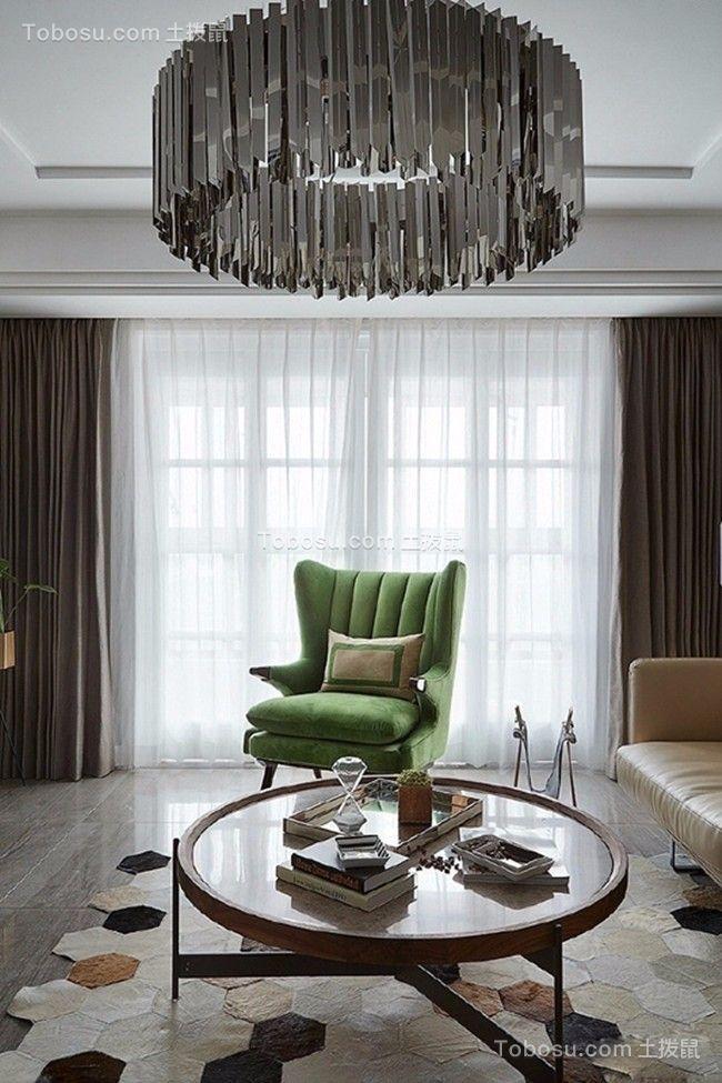 客厅白色灯具后现代风格装潢设计图片