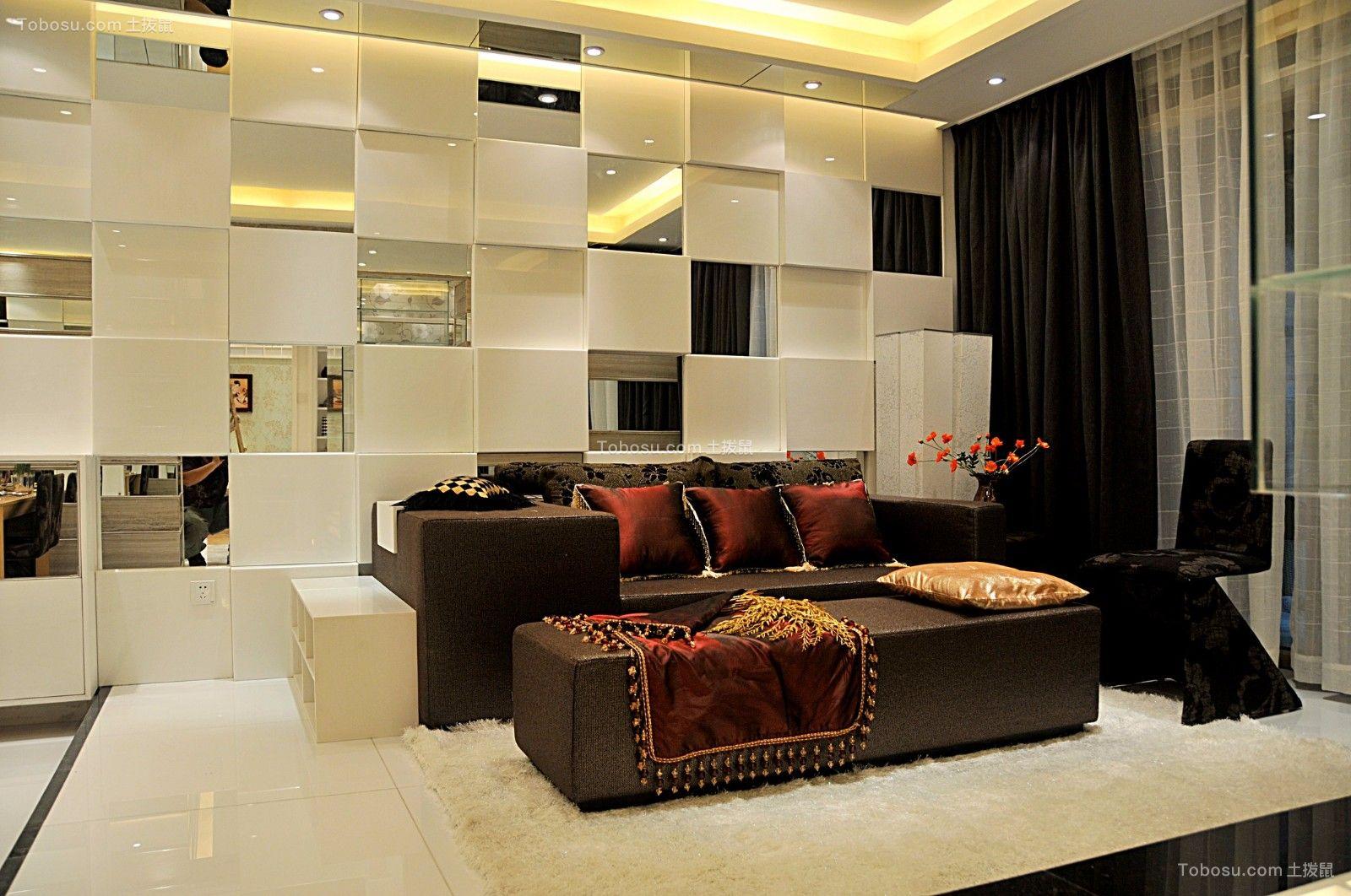 客厅黑色沙发后现代风格装潢图片