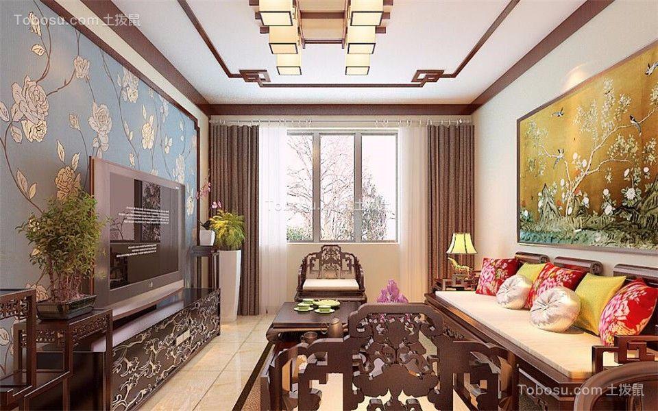 阳台灰色窗帘中式风格装潢设计图片