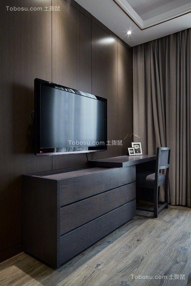 卧室黑色电视柜现代简约风格装潢设计图片