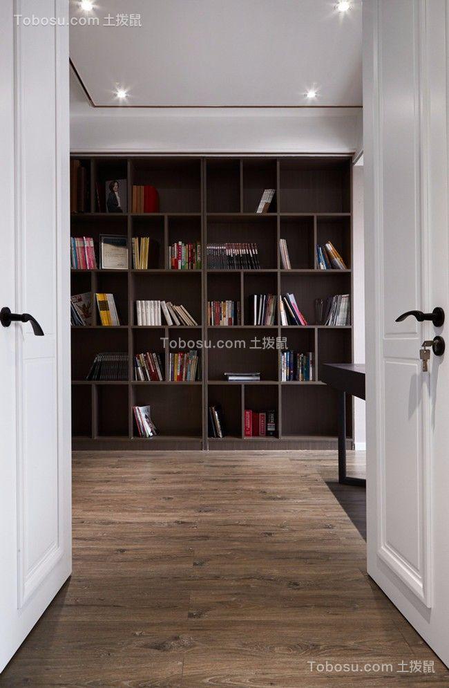 书房黑色书架现代简约风格效果图