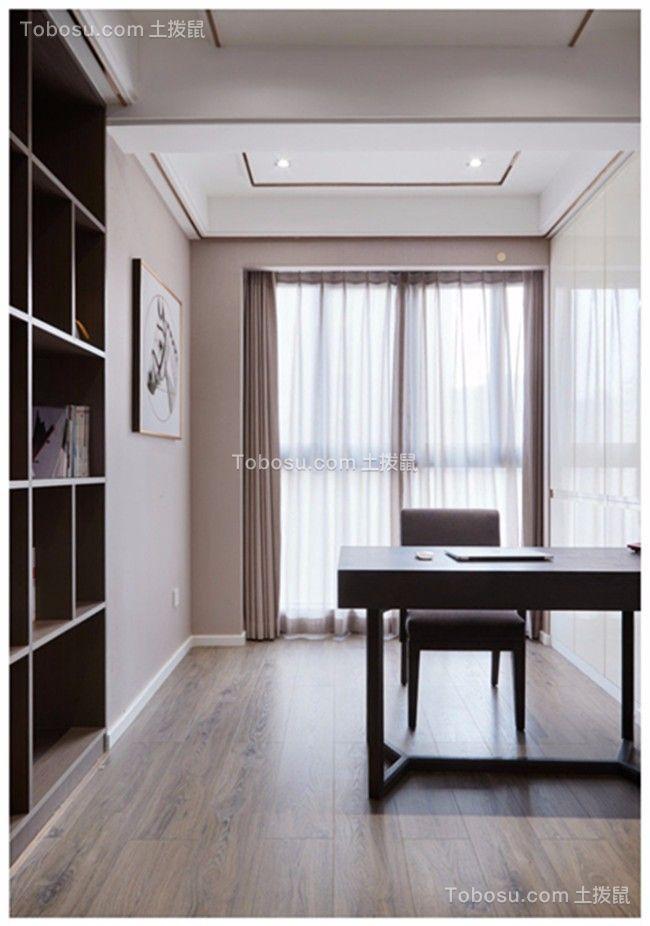 书房黑色书桌现代简约风格装修效果图