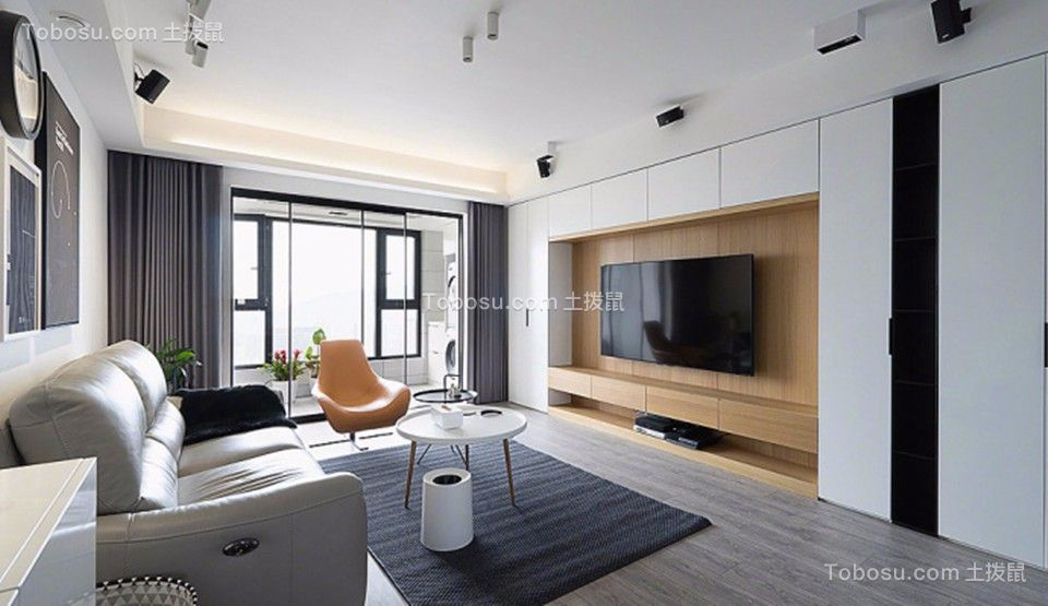 客厅米色电视柜现代简约风格装饰设计图片