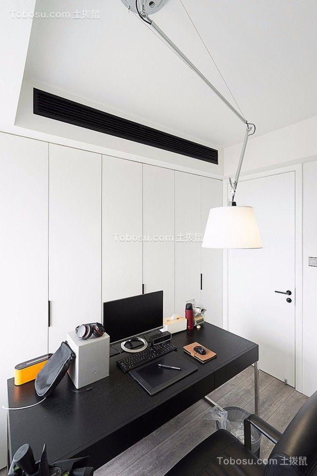 书房黑色书桌现代简约风格装饰图片