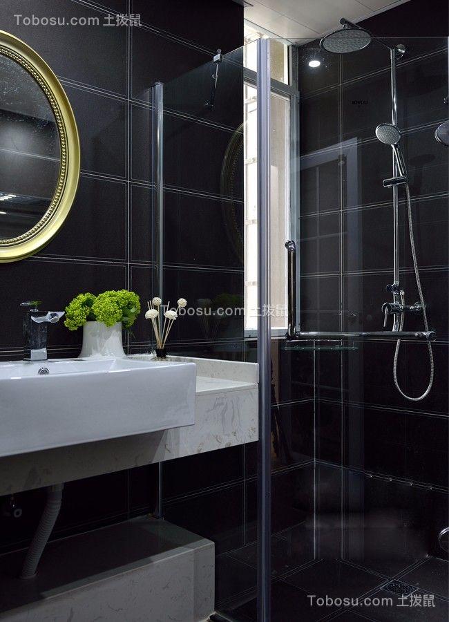 卫生间黑色地砖现代风格装潢效果图
