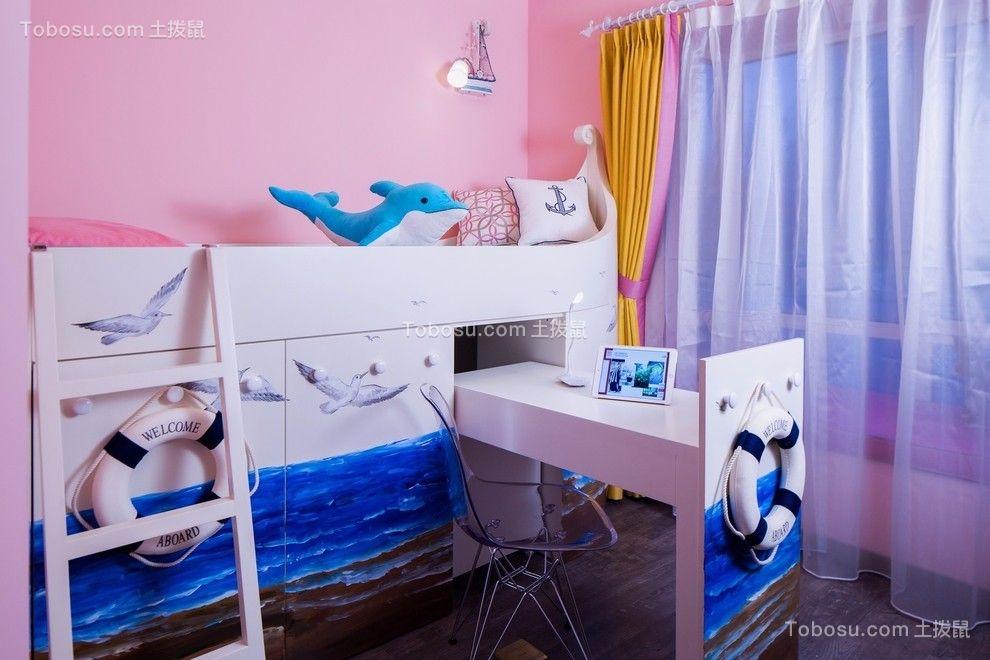儿童房粉色背景墙混搭风格装修图片