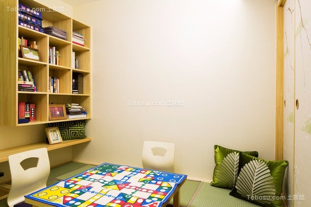 书房黄色书架混搭风格装饰图片