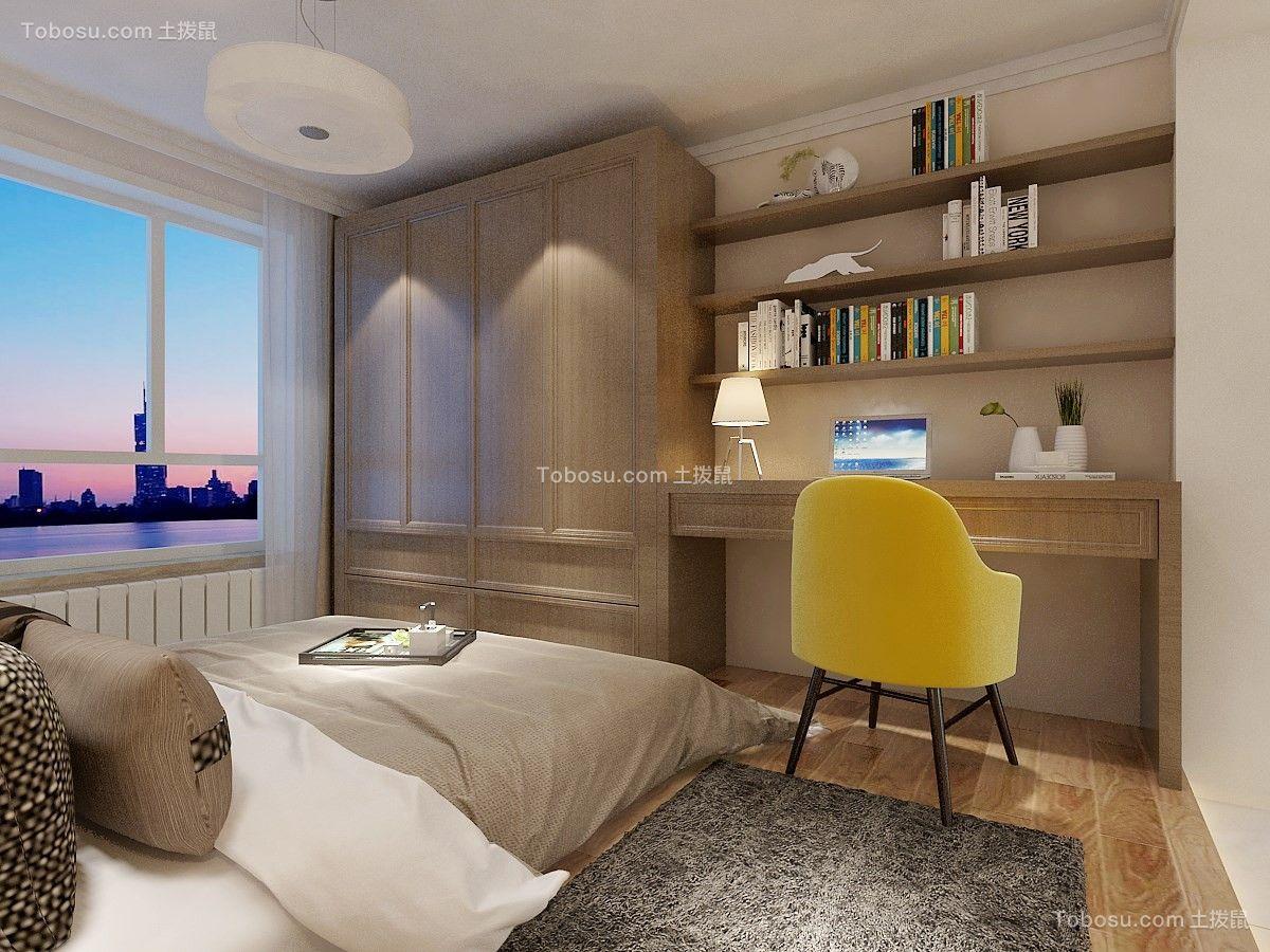 卧室白色书架北欧风格装修设计图片
