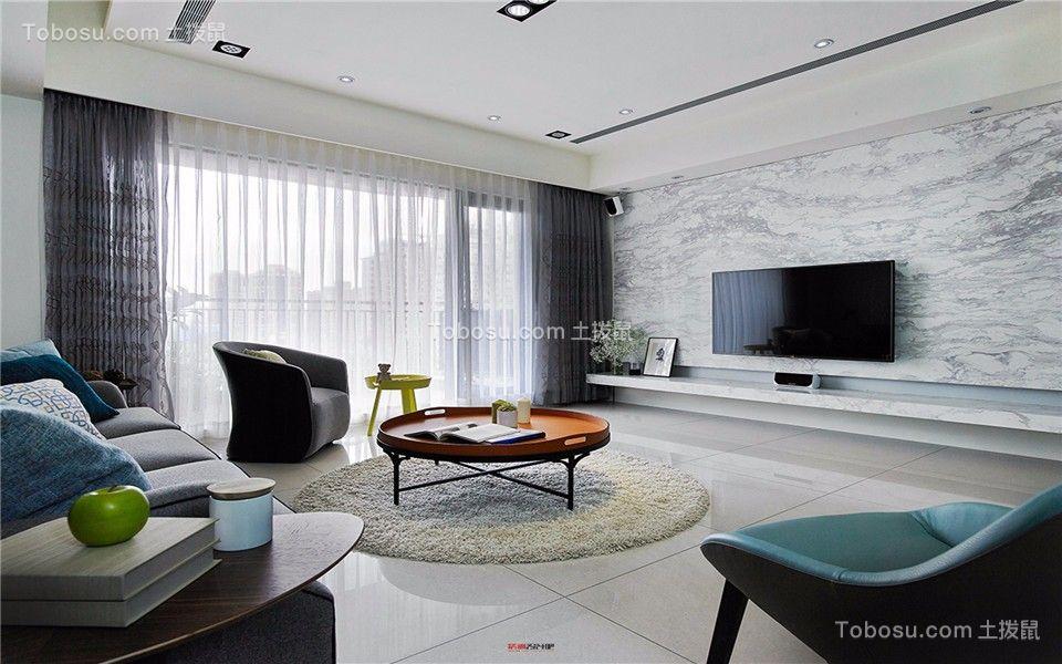 鸿意星城现代110平三室两厅一卫装修效果图