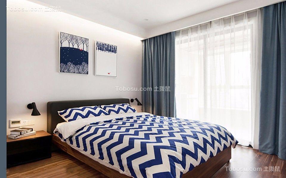 卧室蓝色窗帘北欧风格装饰设计图片