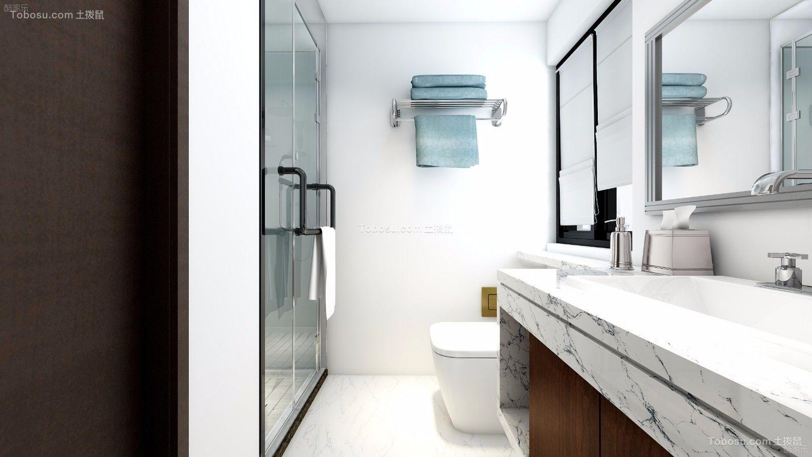 卫生间白色洗漱台现代简约风格效果图
