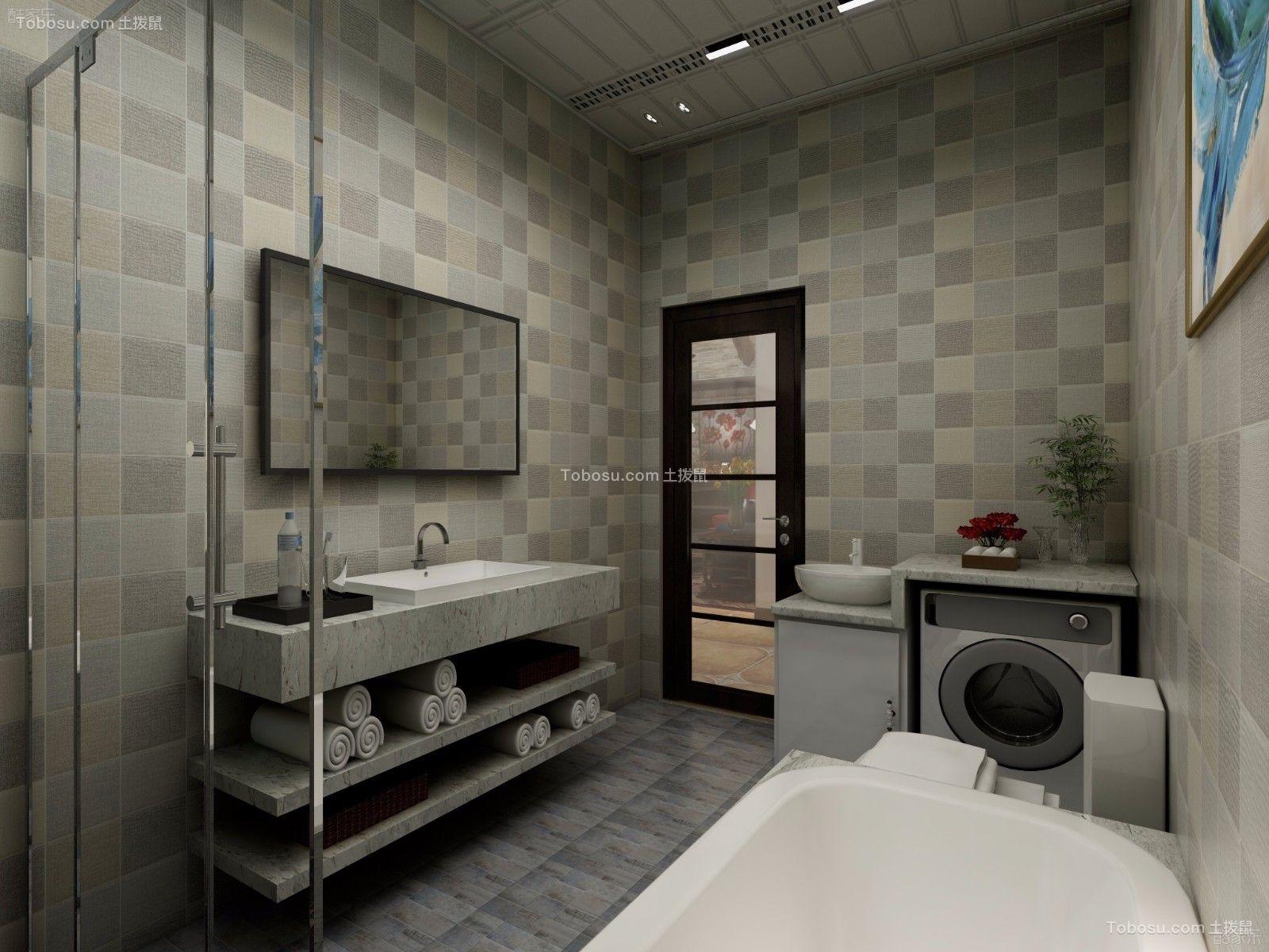 卫生间灰色洗漱台美式风格装饰图片