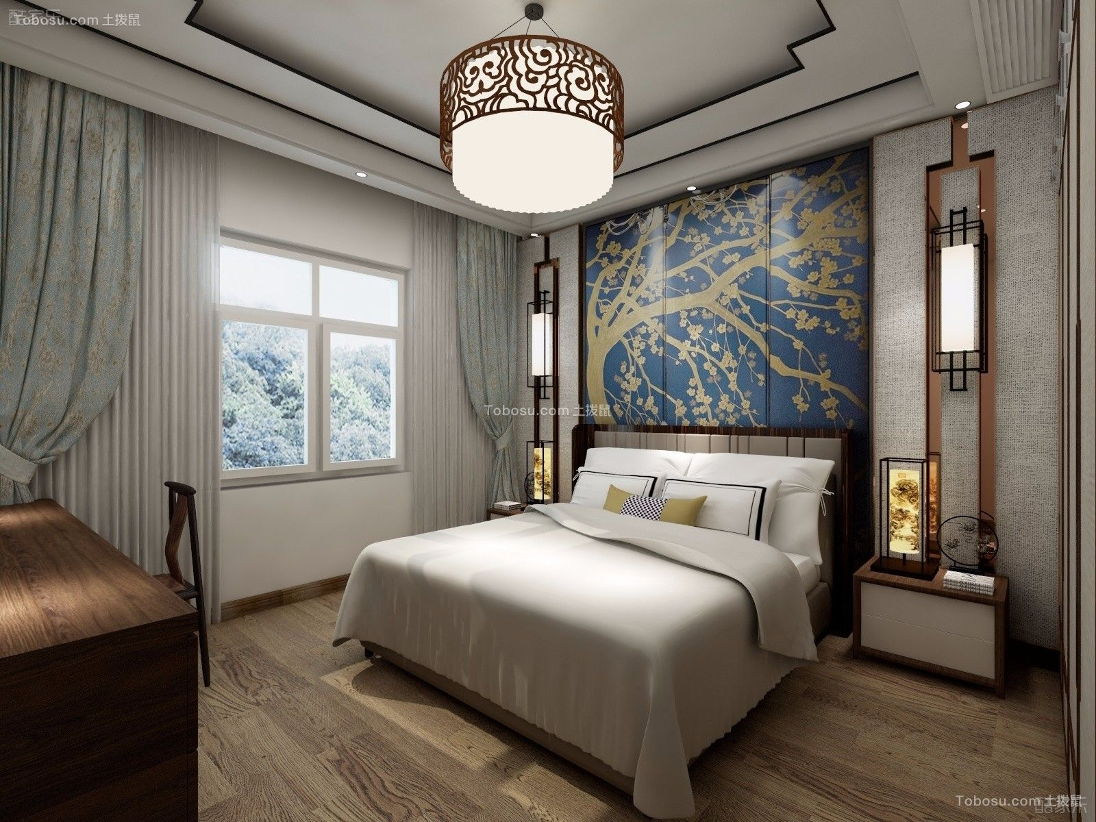 卧室蓝色背景墙新中式风格装饰图片图片