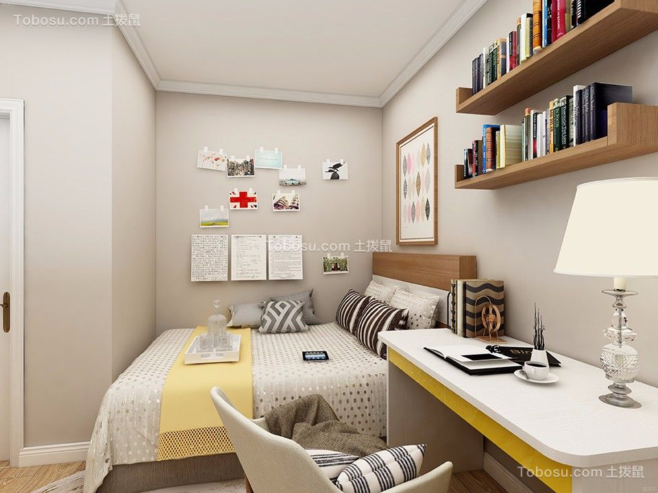卧室白色书桌现代简约风格装潢效果图