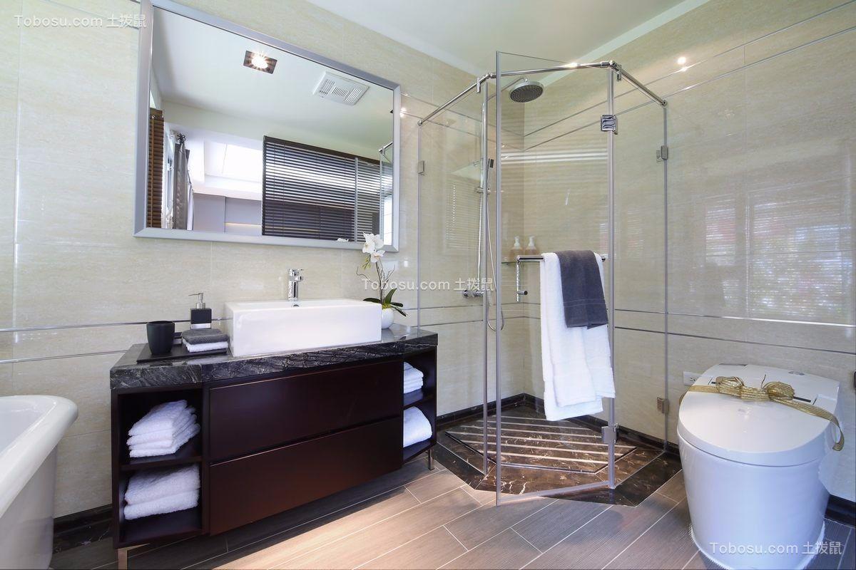 卫生间灰色洗漱台现代简约风格装潢设计图片