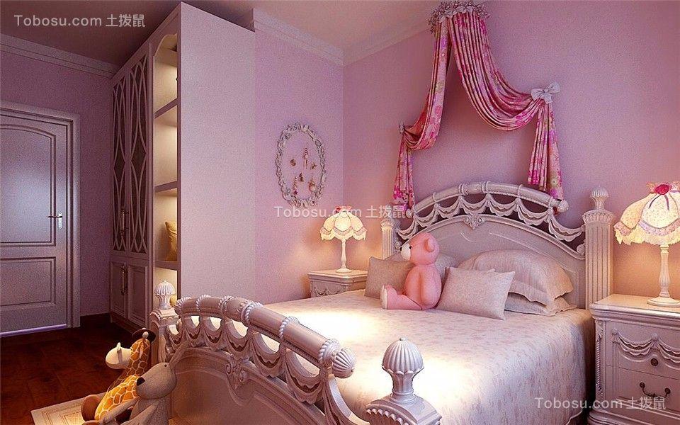 儿童房粉色床头柜现代简约风格装修设计图片