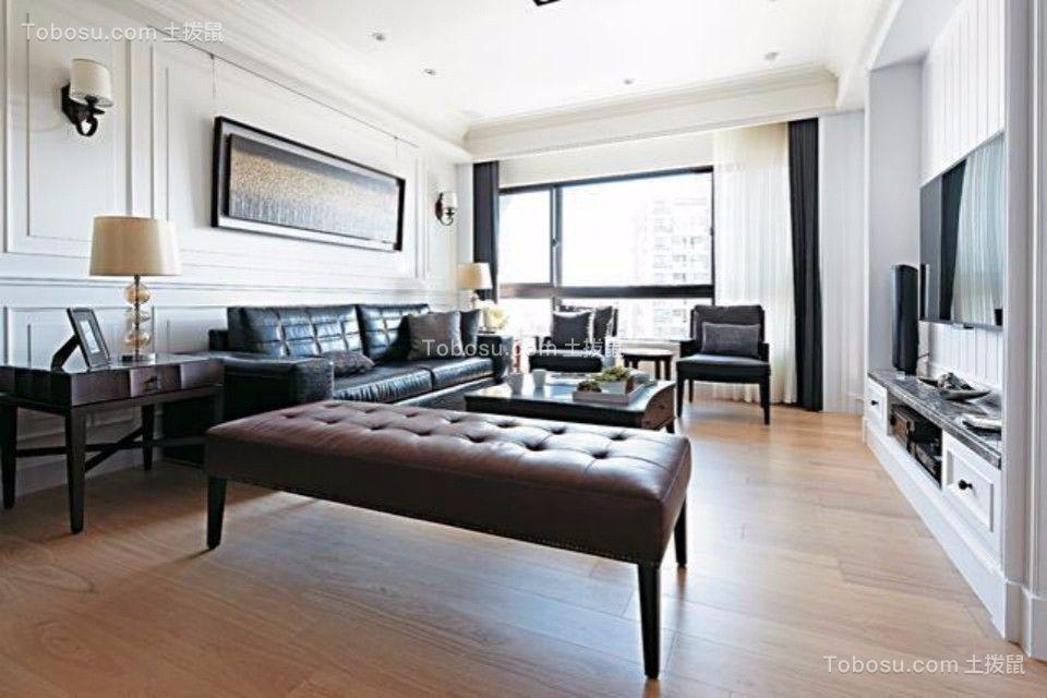 客厅黑色沙发美式风格装潢效果图