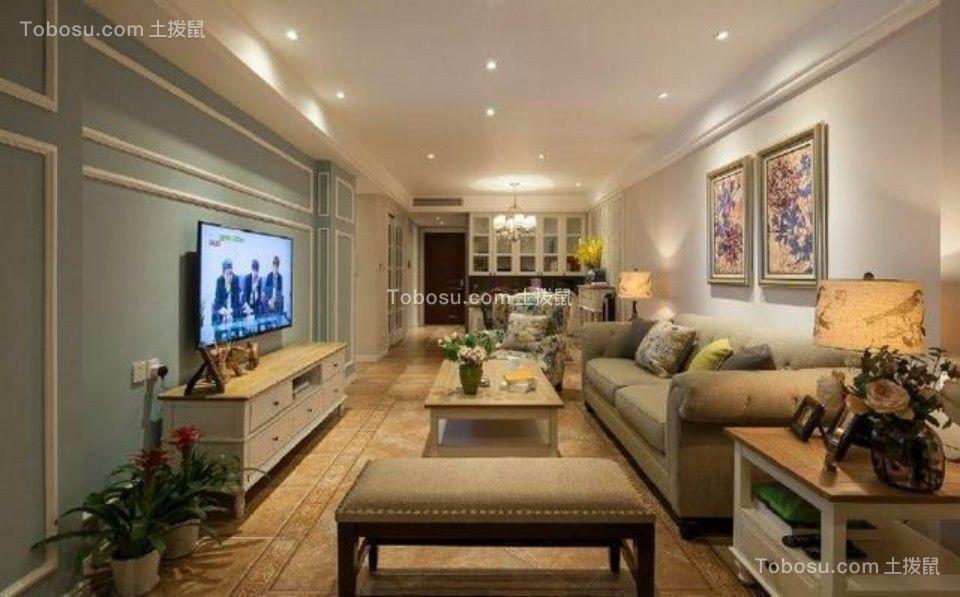 客厅白色电视柜美式风格装修设计图片