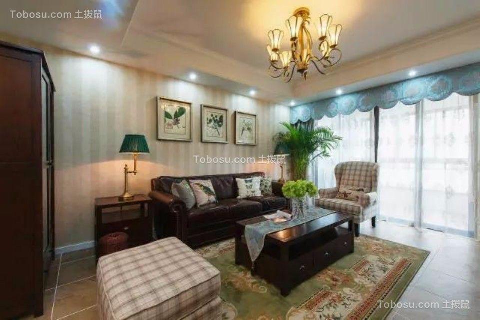 江岸名都三室两厅120平美式风格装修效果图