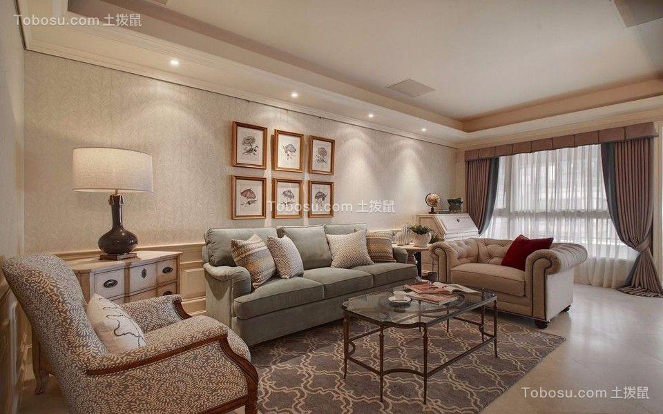 路劲铂隽131平米美式风格三居室装修效果图