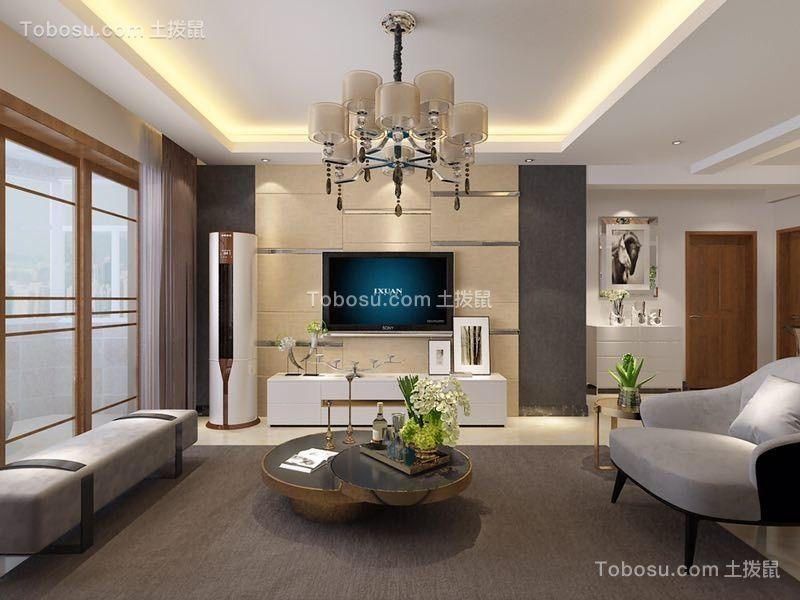 客厅 背景墙_怡新花园134平三居现代简约风格装修效果图