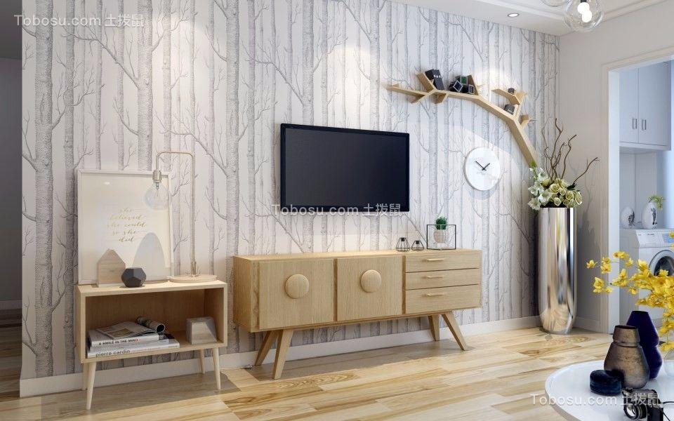 客厅 背景墙_109平北欧风格三室两厅装修效果图