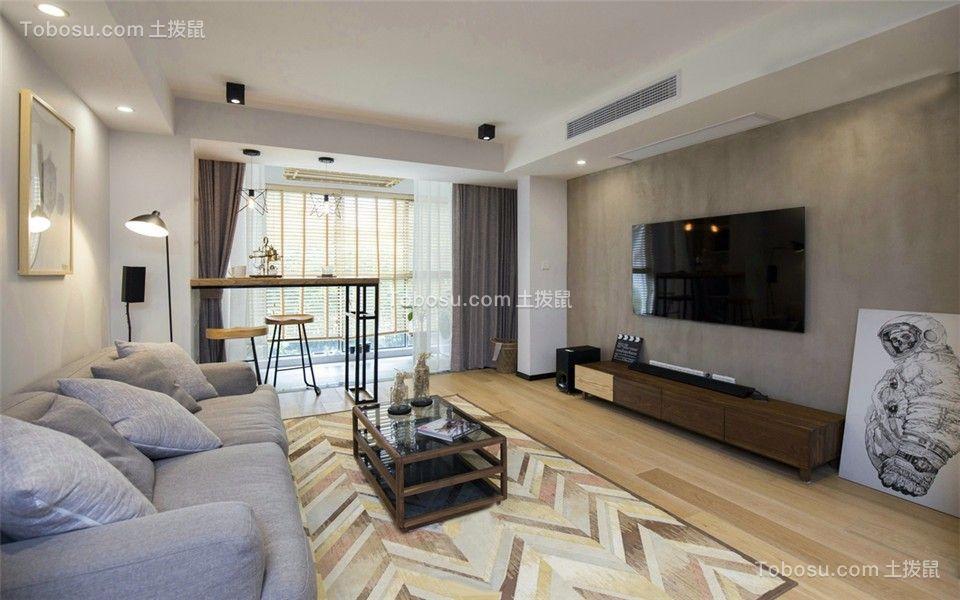世茂滨江新城141平现代风格三室两厅两卫装修效果图