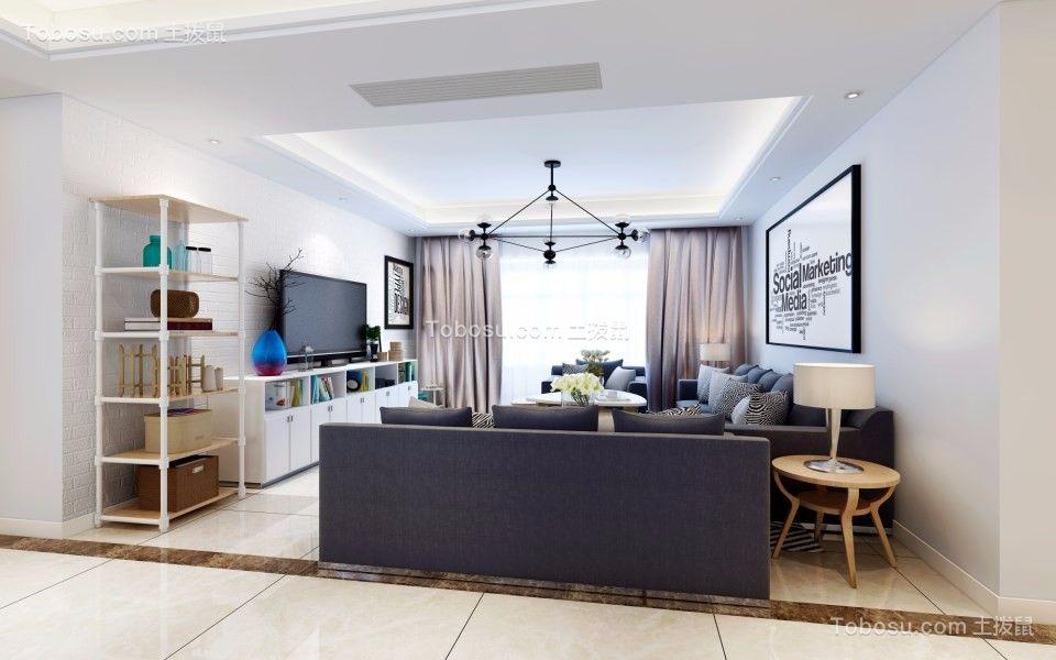 客厅黑色背景墙现代简约风格装修效果图
