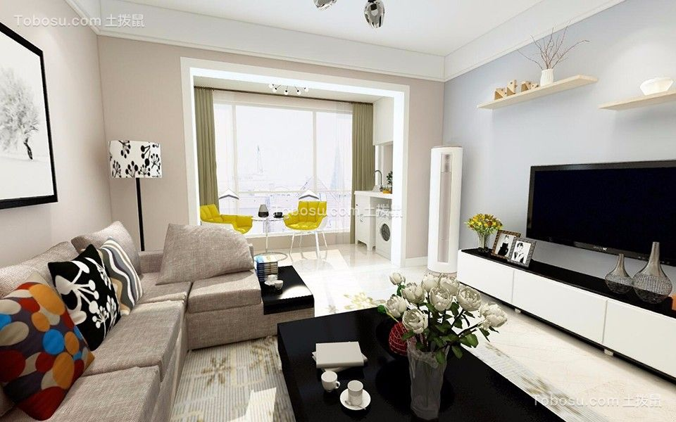 客厅黑色茶几现代简约风格装修效果图