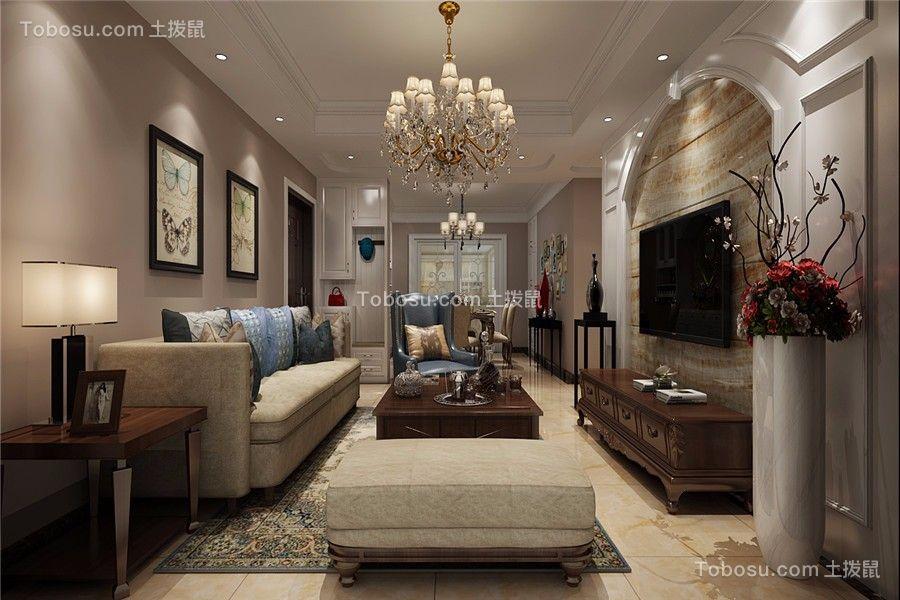 华夏名湾学府119平美式风格三居室装修效果图