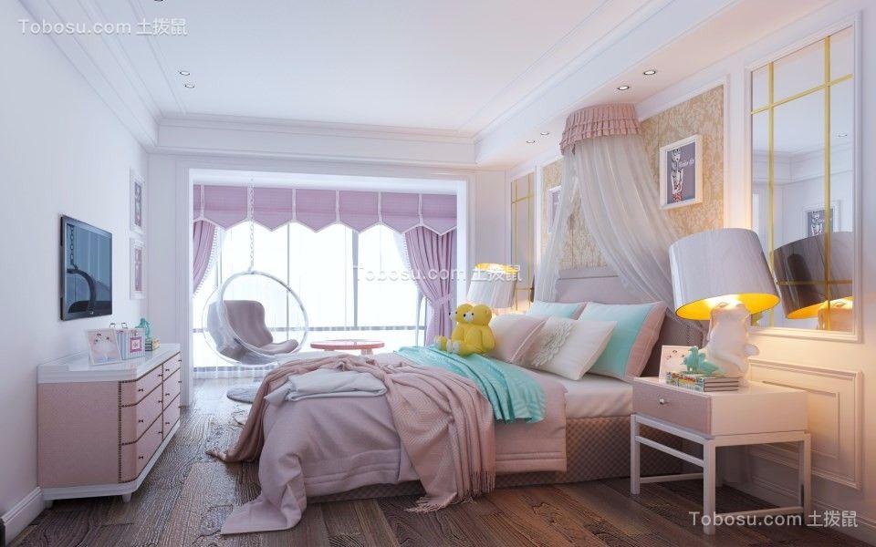 卧室粉色窗帘简欧风格装修效果图