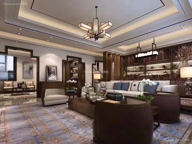120m²中式风格三室两厅装修效果图