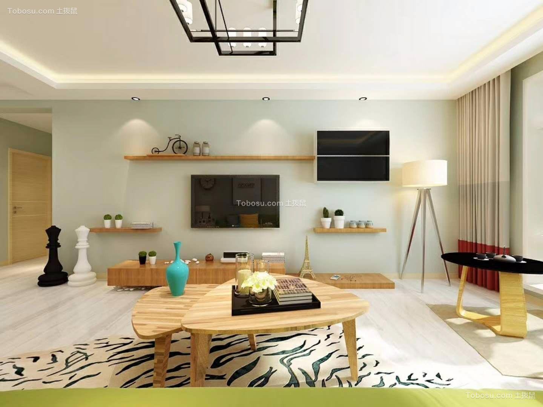 客厅白色电视柜北欧风格装饰设计图片