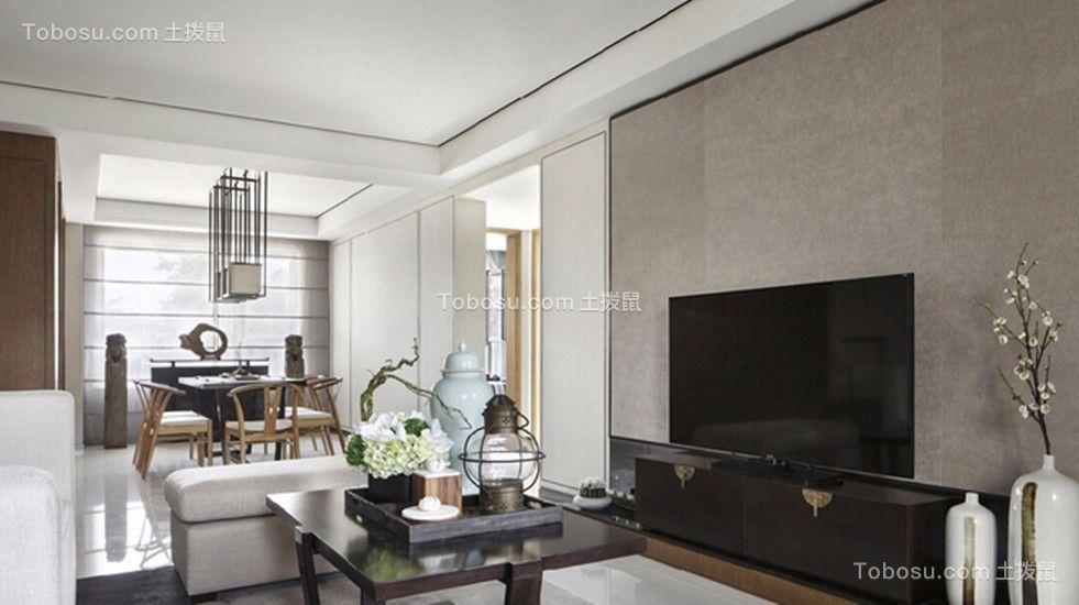 客厅黑色电视柜新中式风格装饰设计图片