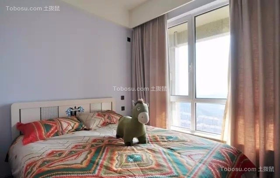 卧室 窗帘_中海凤凰熙岸观园88平简约风格三居室装修效果图