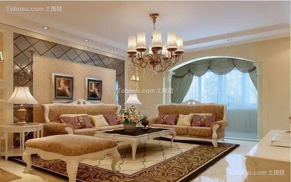 6.8万62.82平简欧风格二居室装修效果图