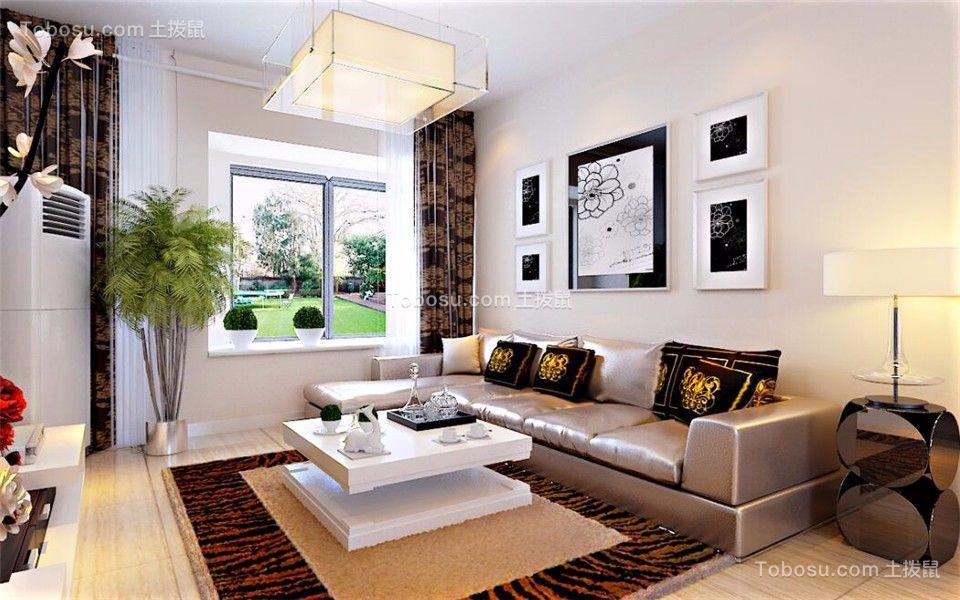 客厅黑色沙发现代简约风格装饰效果图