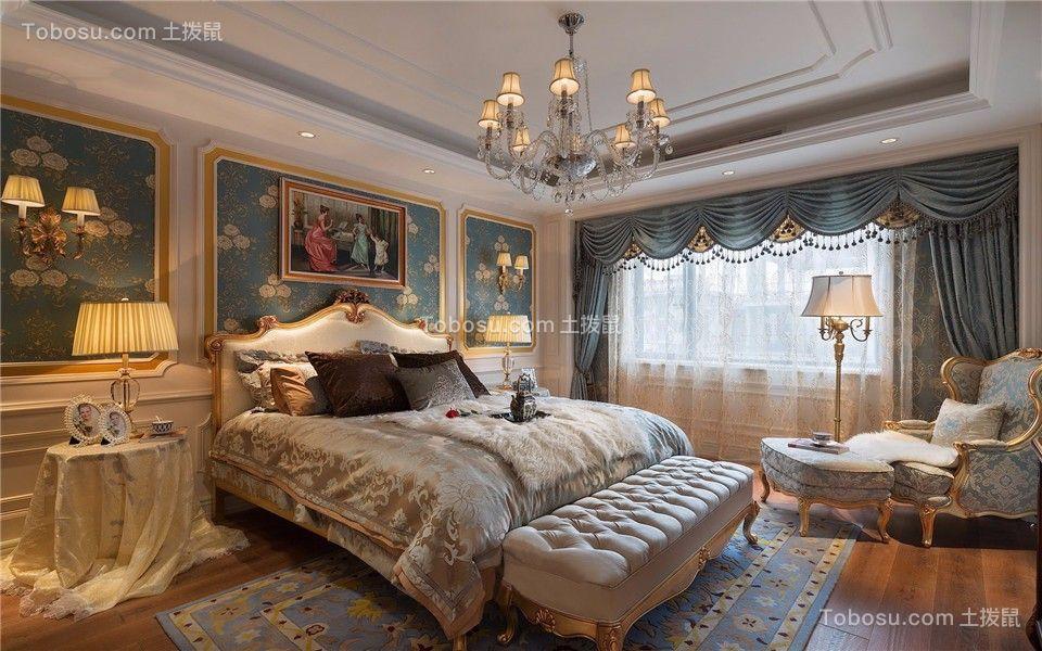 卧室蓝色窗帘欧式风格装修图片
