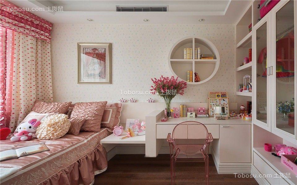 卧室粉色窗帘欧式风格装潢图片